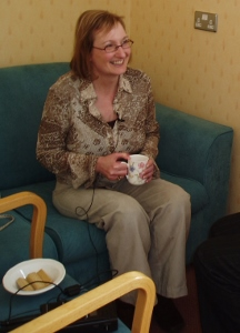Tracy Green (North Trent Consumer Research Panel) taking part in an oral history training interview.