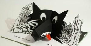 """Livre pop-up """"Variation pour un loup et un jardin potager"""", page 2, loup et potager"""