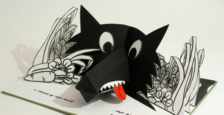 """Livre pop-up """"Variation pour un loup et un jardin potager"""", page 2"""