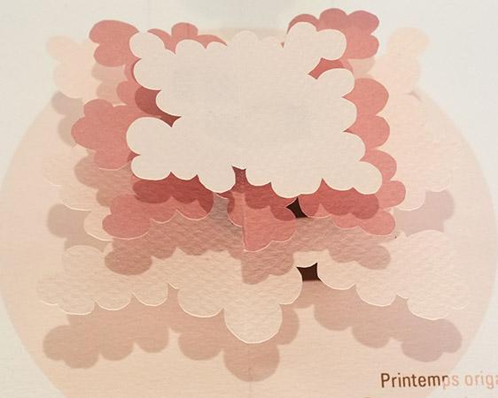 """Carte pop-up Arbre cèdre """"Printemps"""", détail de l'arbre"""