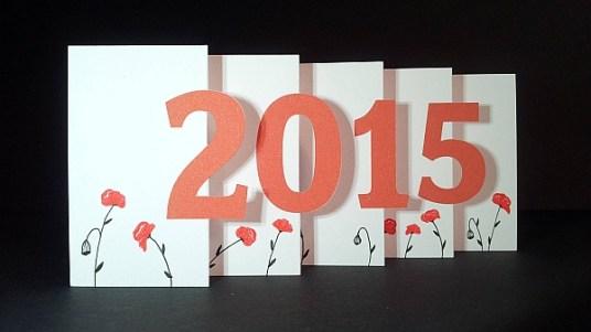 Carte de vœux 2015 kirigami, motifs coquelicots