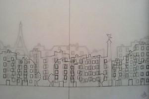 Valise d'artiste, calques préparatoires Paris