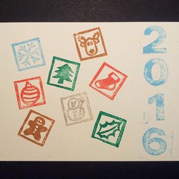 Essai tamponnage, cartes de voeux 2016 motifs Noël