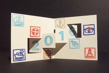 Carte de voeux 2016, kirigami 2, motifs Marine