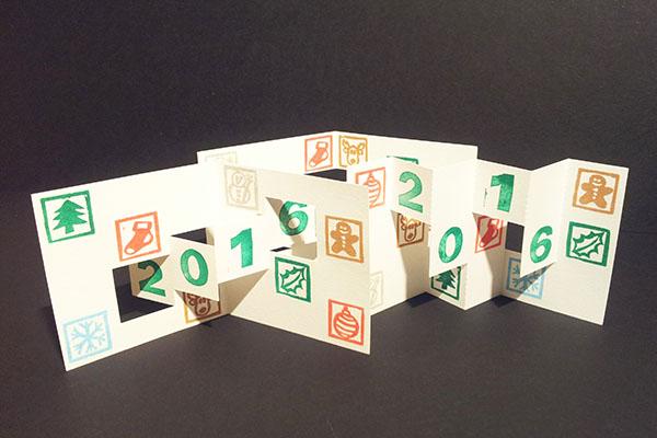 Ensemble des trois cartes de voeux 2016, kirigami avec motifs Noël