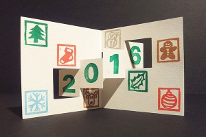 Carte de voeux 2016, kirigami 2, motifs Noël