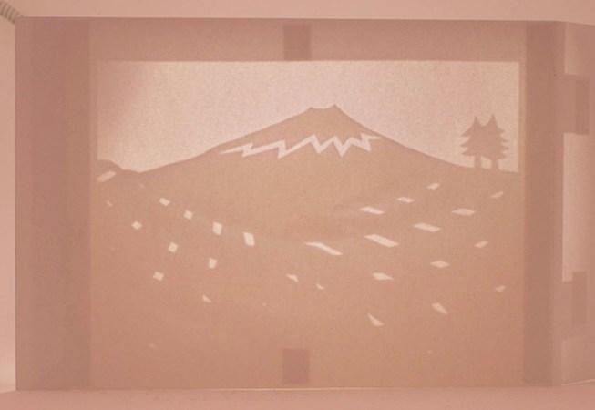 Diorama Plantations de thé, Japon, verso vu en ombre