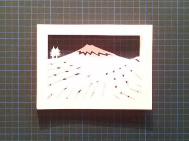 Diorama Plantations de thé, Japon, avant collage sur carte support