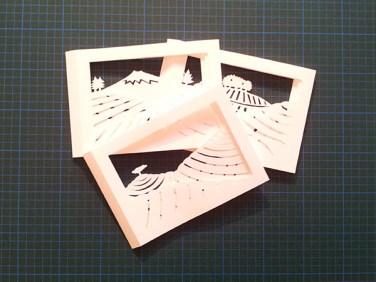 Dioramas Plantations de thé avant collage sur carte support