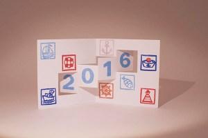 Voeux 2016 imprimé, thématique Marine, kirigami 1