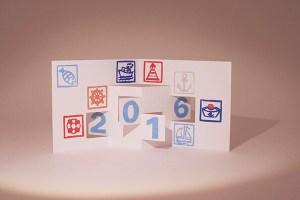 Voeux 2016 imprimé, thématique Marine, kirigami 2