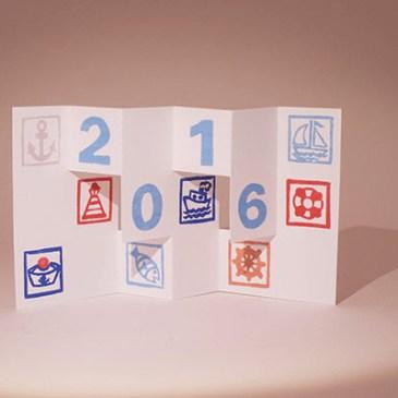 Voeux 2016 imprimé, thématique Marine, kirigami 3