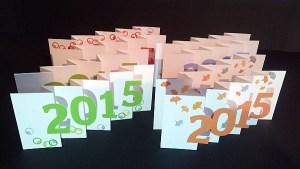 Cartes de vœux 2015 en kirigami, vue d'ensemble