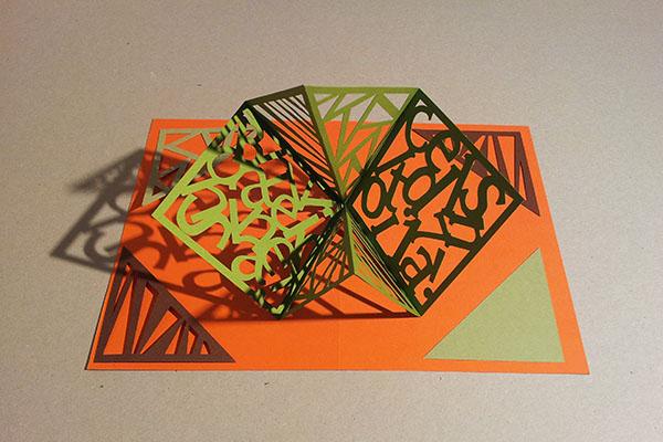 Carte Carré d'anniversaire, abstrait vert-orange, avant montage