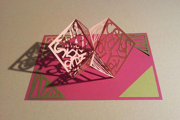 Carte Carré d'anniversaire, abstrait vert-rose, avant montage