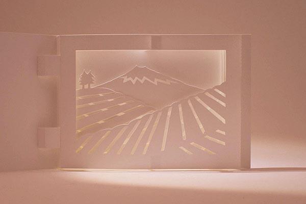 Diorama Plantations de thé, Japon, détail éclairé