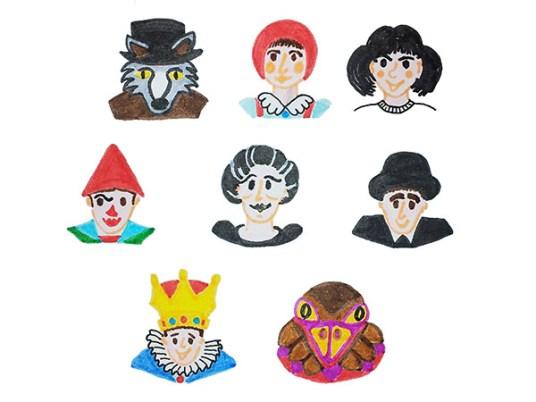 Premières illustrations des personnages des spectacles des Globe Trottoirs