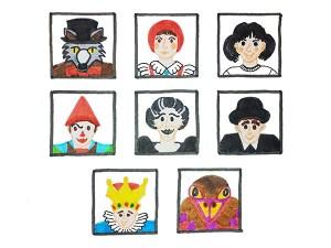 Variante encadrée des premières illustrations des personnages des spectacles des Globe Trottoirs