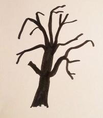 Etudes dessins de la lande, arbre mort, page 4 projet de livre pop-up