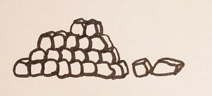 Etudes dessins de la lande, muret de pierres, page 4 projet de livre pop-up