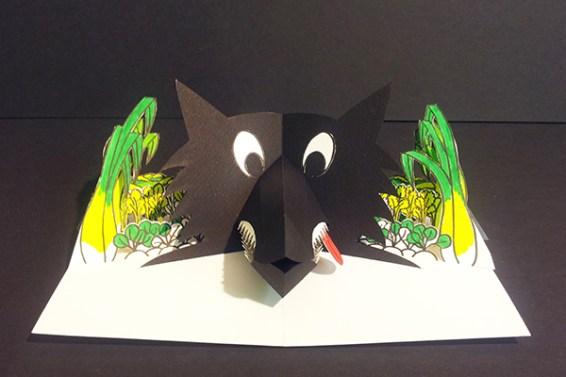 Projet livre pop-up, loup dans un potager, face, version couleurs