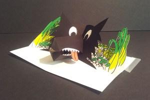 Projet livre pop-up, loup dans un potager, profil, version couleurs