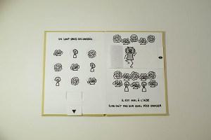 """Projet de livre pop-up """"Variation pour un loup et un jardin potager"""", tirettes rentrées"""