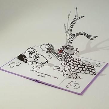 """Projet livre pop-up """"Variation pour un loup et un jardin potager"""", loup dans la lande, profil"""