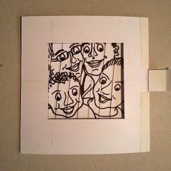 Carte d'anniversaire personnalisée en pop-up, maquette de travail.. Portrait de famille, position 2.