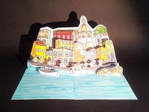 Coaching pour la réalisation d'une carte d'anniversaire avec le port de Procida, Italie. Vue d'ensemble