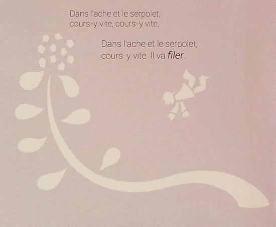 Projet de livre pop-up, Le bonheur… d'après Paul Fort, Flammarion Jeunesse. Détail texte strophe 3