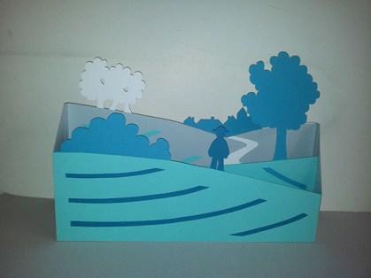 Elément de vitrine librairies, paysage bleu