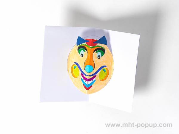 Carte Masque du Vietnam modèle Grosses joues, Do It Yourself, intérieur de la carte coloriée