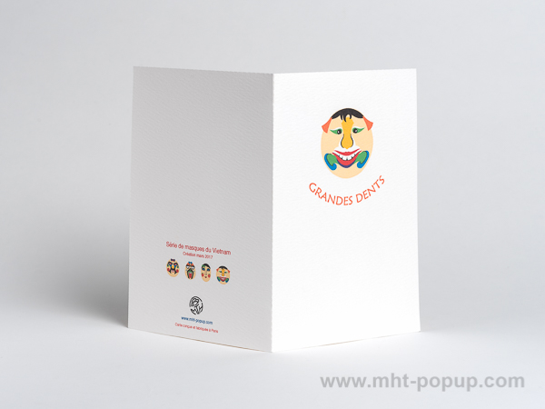 Carte pop-up Masques du Vietnam, modèle Grandes dents, dos de la carte ouverte