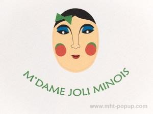 Carte Masques du Vietnam, M'dame Joli minois, détail recto