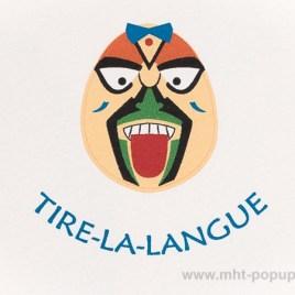 Carte Masques du Vietnam, Tire-la-langue, détail recto