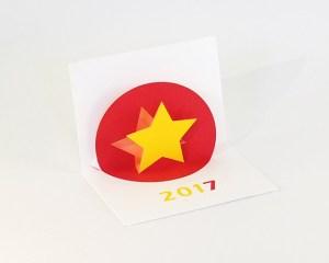 Vœux MHT Pop up 2017, version rouge-jaune