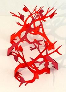 Carte pop-up Arbres croisés Automne rouge, détail des 3 arbres