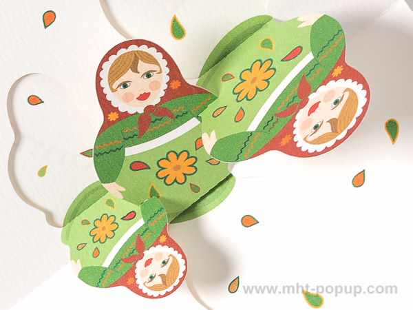 Carte de vœux Matriochkas modèle vert, détail des motifs