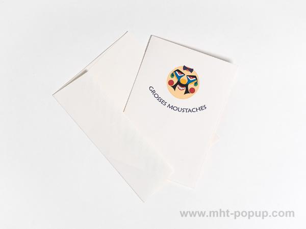 Carte pop-up Masques du Vietnam, modèle Grosses moustaches, carte avec enveloppe