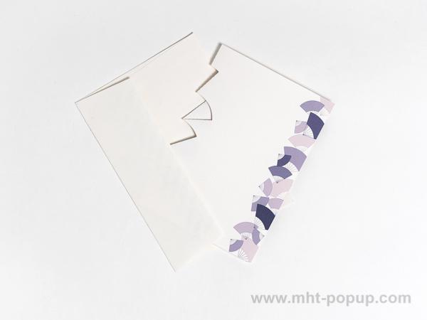 Carte Kirigami avec frise Eventails, couleur mauve, carte et enveloppe