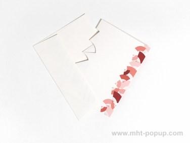Carte Kirigami avec frise Eventails, couleur rouge, carte et enveloppe