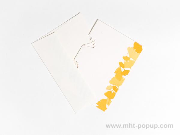 Carte Kirigami avec frise Ginkgos, couleur jaune, carte et enveloppe