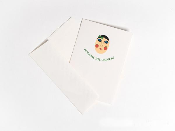 Carte Masques du Vietnam, M'dame Joli minois, carte et enveloppe