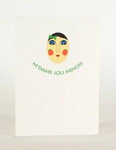 Carte Masques du Vietnam, M'dame Joli minois, recto carte pliée