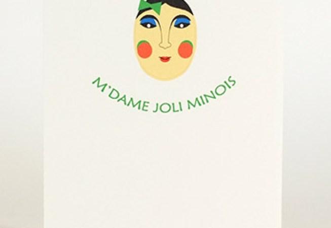 Carte pop-up Masques du Vietnam, modèle M'dame Joli minois, recto de la carte pliée