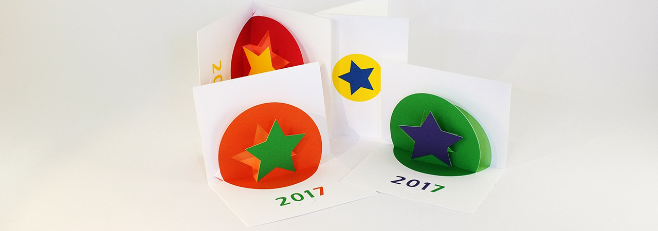 Série de cartes de voeux 2017 de MHT Pop up avec étoile