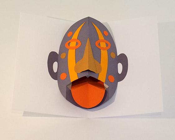 Atelier pop-up autour du masque. Version masque avec langue articulée