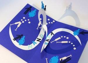 Carte pop-up en spirales combinées personnalisée pour un mariage, vue de dessus