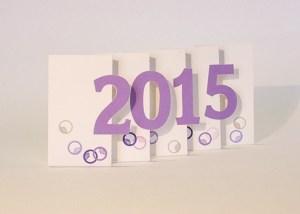 Carte de voeux 2015 MHT Pop up, papier découpé en accordéon, modèle Art déco mauve